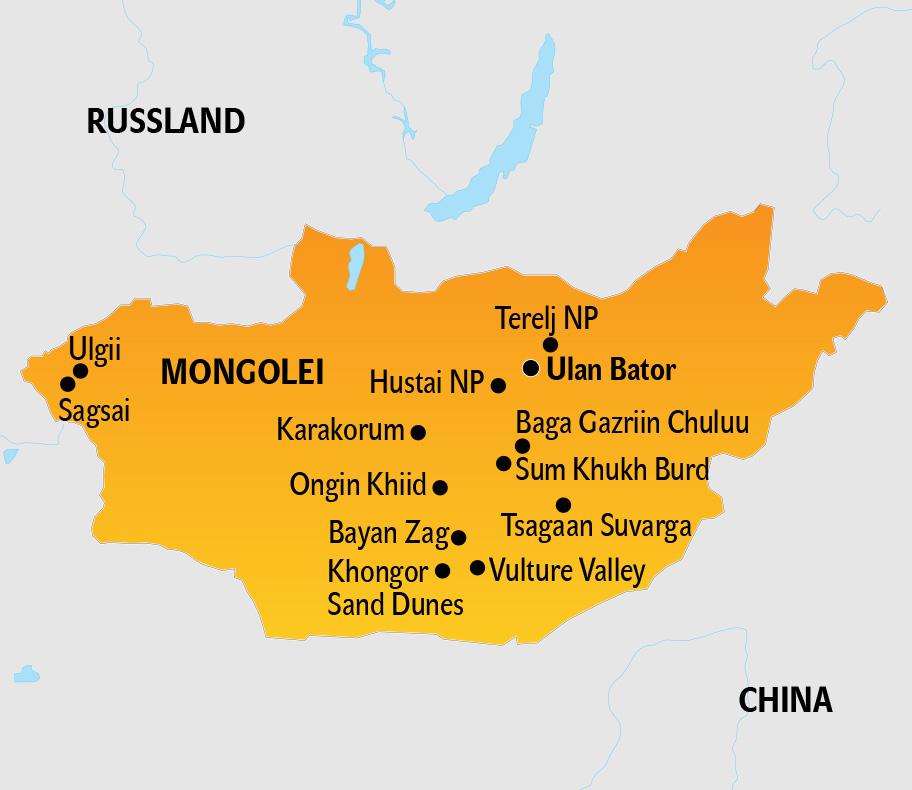 Mongolei Karte, Landkarte der Mongolei mit Nachbarstaaten