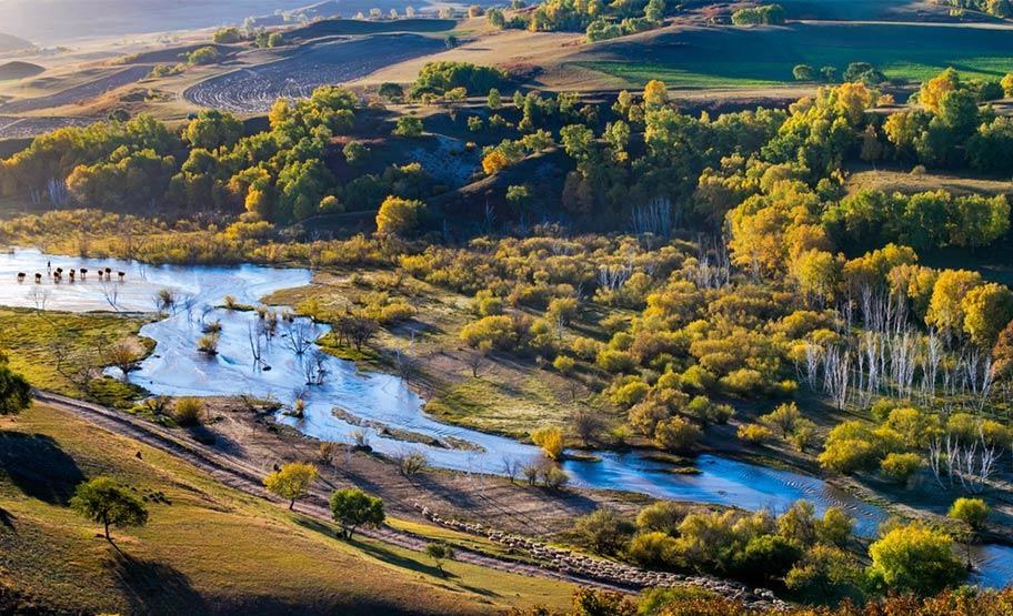 Fluss Bashang Graslandschaft Mongolei