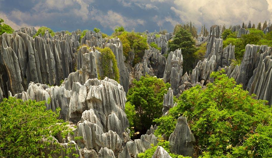 Yunnan die Zinnen des Steinwaldes Naturwunder
